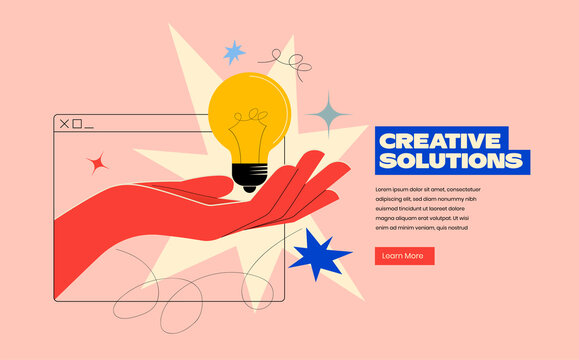 Creative solutions or ideas web banner design or landing page template for creative agency with hand comes out of the screen with light bulb and colorful abstract geometric shapes. Vector illustration