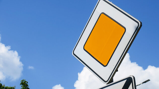 Road sign main road yellow diamond