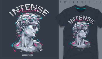 Fototapeta Graphic t-shirt design, typography slogan with classic statue,vector illustration for t-shirt. obraz