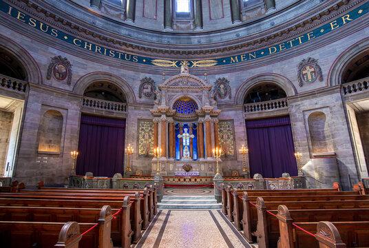 Frederiks Church in the historic center of Copenhagen, Denmark.