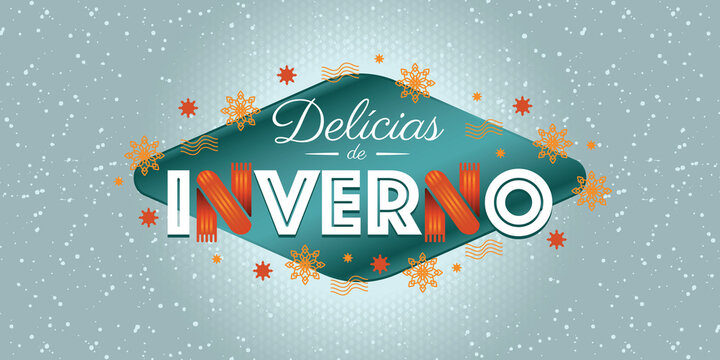 Winter lettering design. Season design elements. Sales decorative elements. Vector for discount for promotional material. Portuguese text saying winter delights