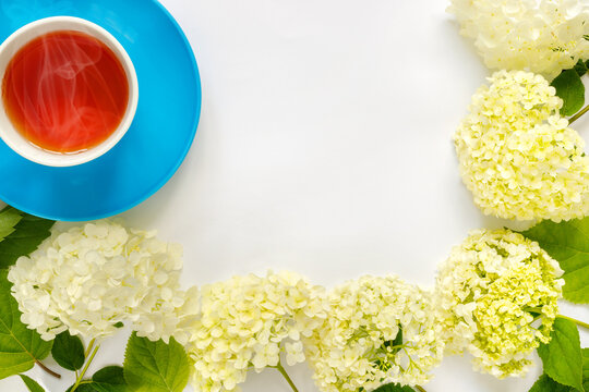 Сup of hot tea with bouquet of hydrangea on white background.