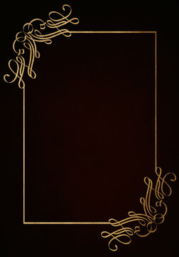 Dark maroon red background with luxery golden ornaments, golden frame. Good for logo or invitation.