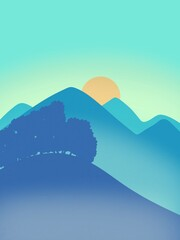 illustration of beautiful mountain scenery in the morning. fog in the mountains.