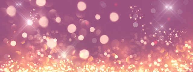 Obraz Golden glittering stars. Holiday glowing backdrop. Defocused Background With Blinking Stars. Abstract Colorful bright glowing design. Party lights - fototapety do salonu
