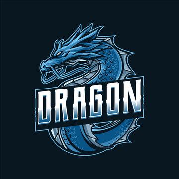 Blue Dragon mascot logo illustration
