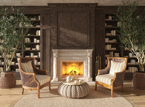 Scandinavian farmhouse style living room interior book library with fireplace. Mock up. 3d render illustration.