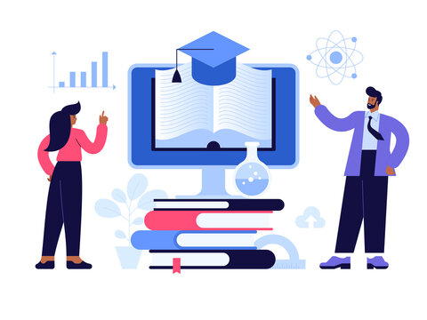 Online education scene concept. Students read e-books and use online library service. Man and woman study remotely, refresher trainings, prepare for exams, graduation. Vector character illustration