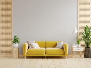 Fototapeta Gray wall living room have yellow sofa and decoration. obraz
