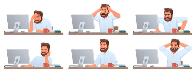 Businessman at desktop. Tired and successful worker. Deadline. The employee is angry. Different emotions of a man working - fototapety na wymiar