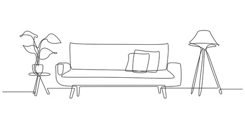 One continuous line drawing of sofa with lamp and potted deciduous plant. Home modern furniture of couch with two pillows in simple linear style. Editable stroke Vector illustration