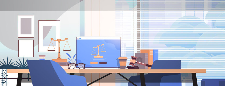 law and justice concept gavel judge books scales and laptop on workplace desk online lawyer legal advice