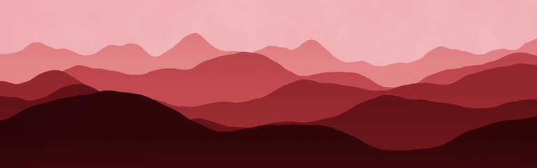 cute red wide of mountains ridges in fog computer art background or texture illustration