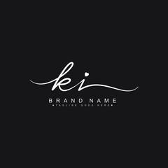 Obraz Initial Letter KI Logo - Hand Drawn Signature Logo - fototapety do salonu