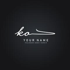 Fototapeta Initial Letter KO Logo - Handwritten Signature Logo obraz