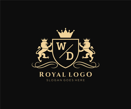 Initial WD Letter Lion Royal Luxury Heraldic,Crest Logo template in vector art for Restaurant, Royalty, Boutique, Cafe, Hotel, Heraldic, Jewelry, Fashion and other vector illustration.