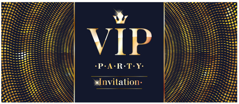VIP club party premium invitation card poster flyer. Black and golden design template