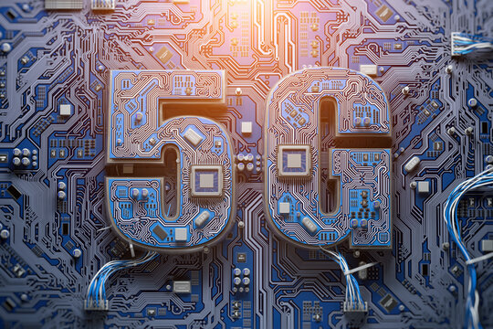 5G technology development, semiconductor productivity growth concept backgound. 5G chip on computer matherboard.