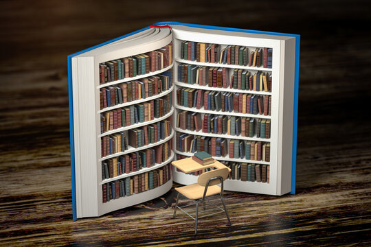 Education, knowledge and learning concept background. Books on bookshelf as book and school desk and chair.