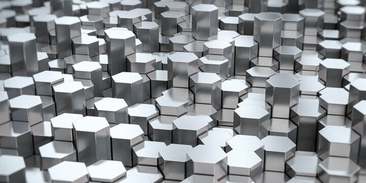Hexagonal stainless steel rods background. Metal profile manufacturing and production.