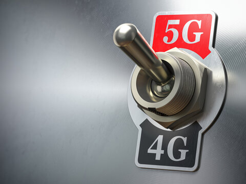 5G 4G network concept. Retro switch with different telecommunication standarts in mobile network.