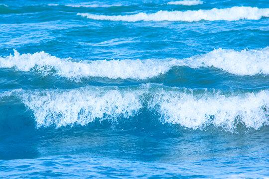 Beautiful blue sea waves background