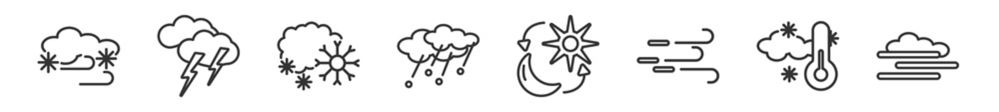 outline set of weather line icons. linear vector icons such as blizzard, light bolt, snowing, hail, daytime, blanket of fog. vector illustration.
