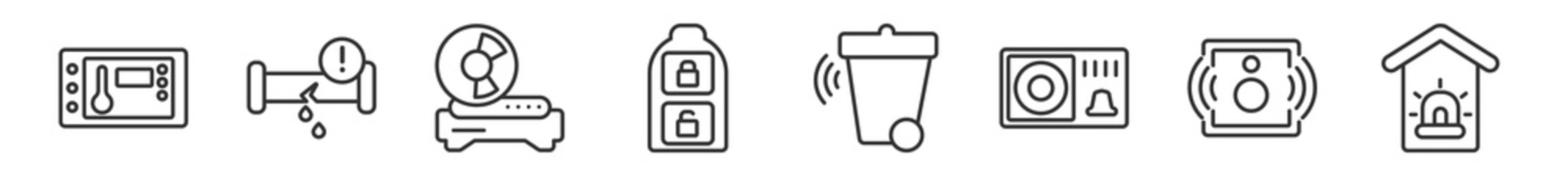 outline set of smart home line icons. linear vector icons such as thermostat, leak, cd player, smart key, smart trash, alarm system. vector illustration.