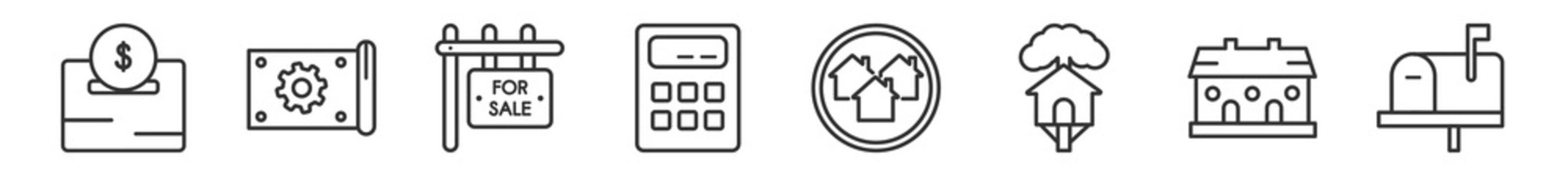 outline set of real estate line icons. linear vector icons such as deposit, technical drawing, for sale, calculate, houses, mailbox. vector illustration.
