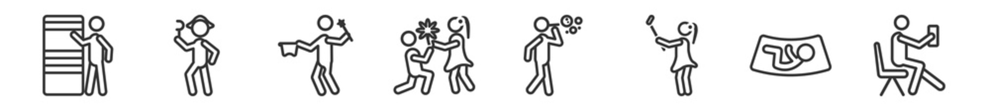 outline set of people line icons. linear vector icons such as knocking, pirate head, magician boy, boy giving flowers to his girlfriend, man making soap bubbles, sitting man drinking a soda. vector