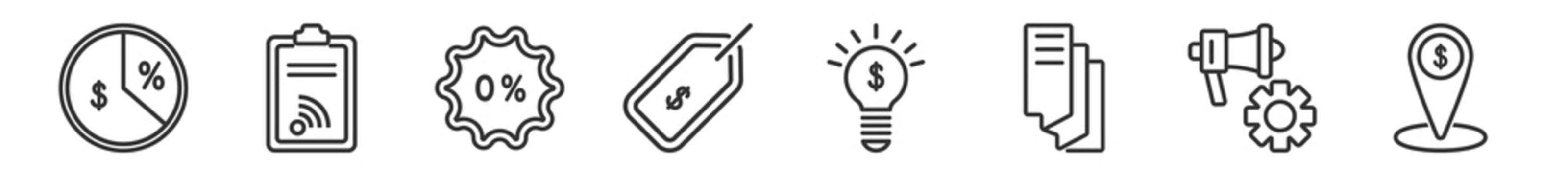 outline set of marketing line icons. linear vector icons such as margin, rss, commission, price, innovation, place. vector illustration.