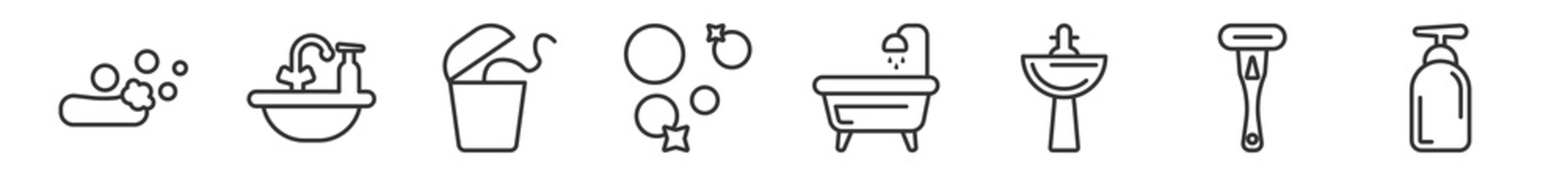 outline set of hygiene line icons. linear vector icons such as ablution, washbasin, flossing, bubbles, bathroom, pump bottle. vector illustration.