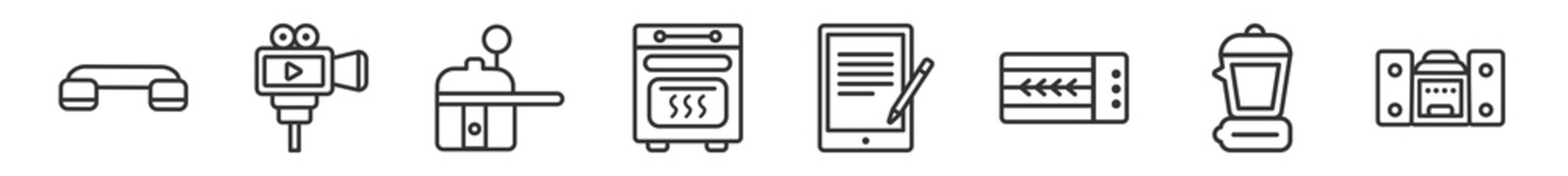 outline set of electronic devices line icons. linear vector icons such as telephone, video recorder, pressure cooker, convection oven, book reader, stereo. vector illustration.