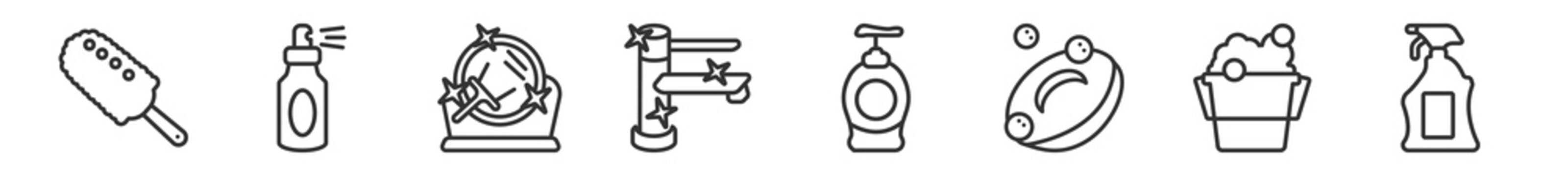 outline set of cleaning line icons. linear vector icons such as duster, wiping sprayer, mirror cleanin, faucet cleanin, hand soap, cleaning spray. vector illustration.