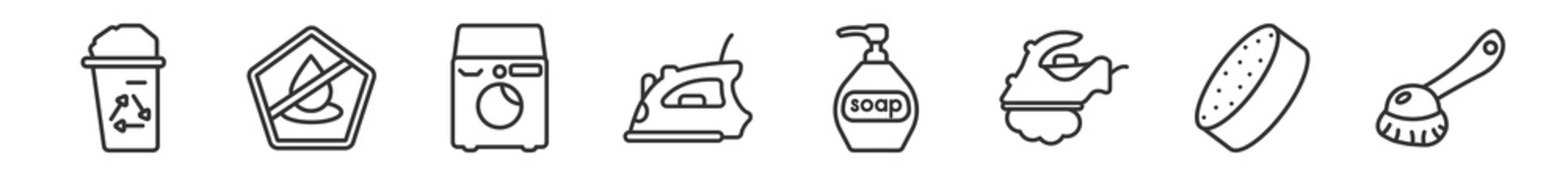 outline set of cleaning line icons. linear vector icons such as wiping trash, no water cleanin, washing machine, iron, soap cleanin, brush. vector illustration.