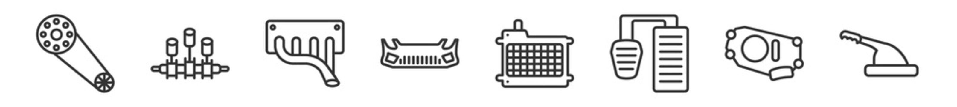 outline set of car parts line icons. linear vector icons such as car camshaft, car crankshaft, manifold, bumper, radiator, handbrake. vector illustration.