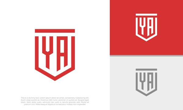 Initials YA logo design. Initial Letter Logo. Shield logo.