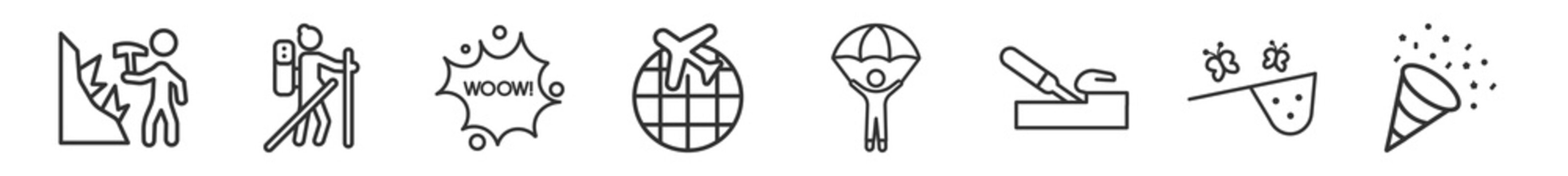 outline set of activities line icons. linear vector icons such as mineral collecting, mountaineering, comic, travelling, gliding parachutist, party. vector illustration.