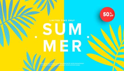 Fototapeta Summer sale vector illustration with tropical leaves background. Promotion banner for website, flyer and poster. Vector illustration obraz
