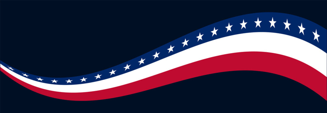 Banner Template for 4th of July American Independence Day. Banner Design with Stars and Stripes Wave and Copy Space for Text on Dark Blue Background