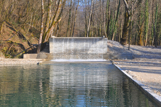 An artificial waterfall on the Sandripsh River. Abkhazia