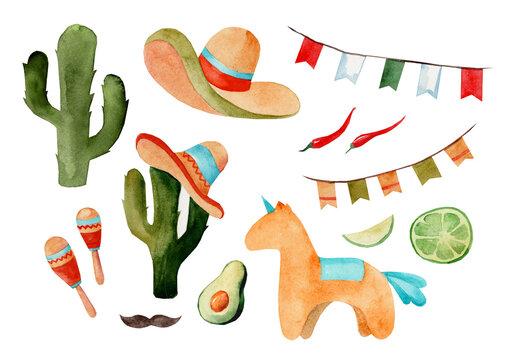 Set of watercolor illustrations cinco de mayo, mexican cuisine, fiesta traditional holiday food and festival symbols travel illustration elements. Sombrero, cactus, chili, maracas, pinata