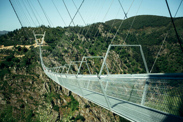 Arouca suspension bridge above the Paiva River in the municipality of Arouca, Portugal.