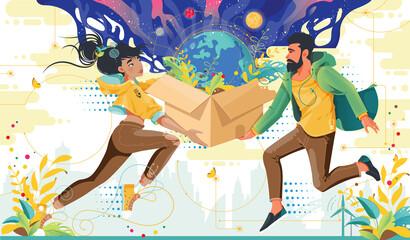 Obraz Kolorowa ilustracja młoda kobieta i mężczyzna trzymają w dłoniach przesyłkę w której jest Ziemia. ekologiczna przesyłka, Eko dostawa zakupów. - fototapety do salonu