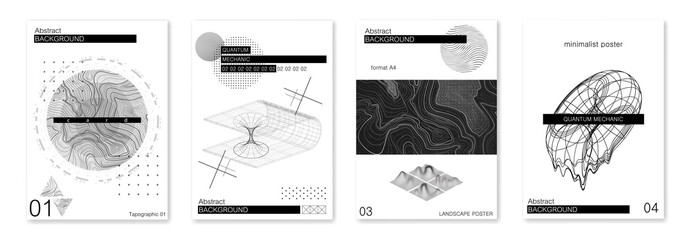 Sci-fi minimalist abstract posters format A4. Concept quantum mechanics, topographic maps, atoms and molecules. Futuristic posters with abstract shapes. Science posters in minimal style. Vector set