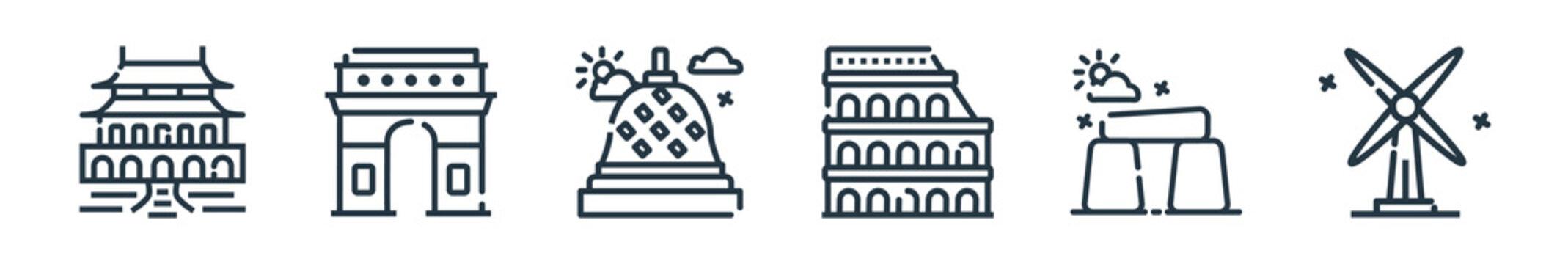 outline set of world monument line icons. linear vector icons such as forbidden city, arc de triomphe, borobudur, colosseum, stonehenge, kinderdijk. vector illustration.