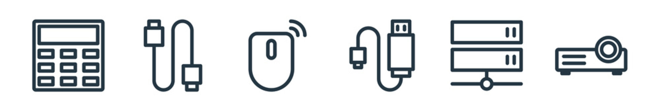 outline set of technology line icons. linear vector icons such as calculator, cable, mouse, usb cable, server, video projection. vector illustration.