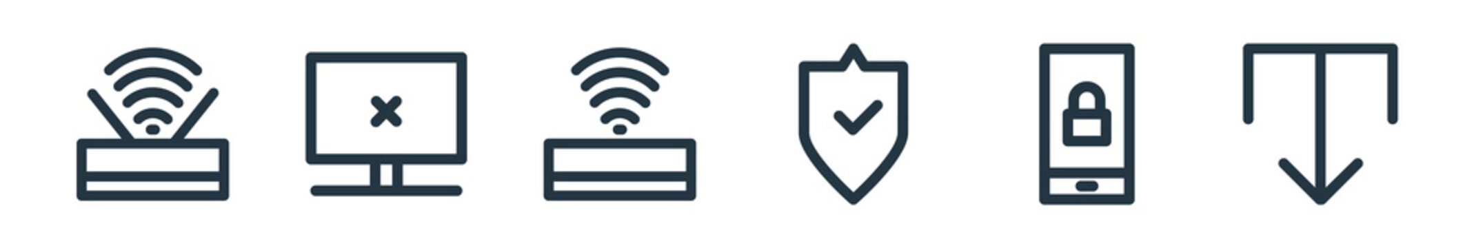 outline set of computer hardware line icons. linear vector icons such as wifi, error, wifi, protection, lock, download. vector illustration.