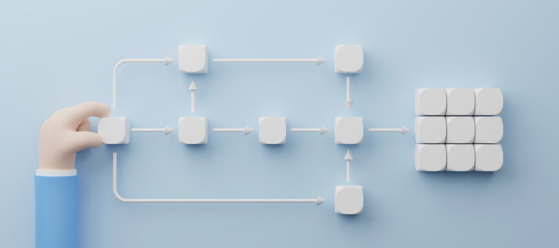 Business process and workflow automation with flowchart. Hand holding white cube arranging processing management. 3d illustration