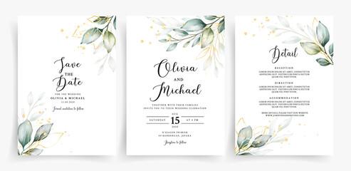 Fototapeta Beautiful greenery with geometric frame on wedding invitation card template  obraz